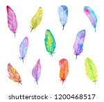 set of colorful watercolor... | Shutterstock . vector #1200468517