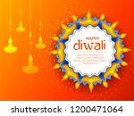 illustration of burning diya on ... | Shutterstock .eps vector #1200471064