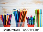 multicolored pencils for... | Shutterstock . vector #1200491584