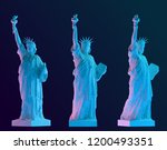 Red And Blue Statue Of Liberty...