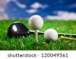 golf ball on the green grass.... | Shutterstock . vector #120049561