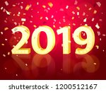 retro 2019 with light bulbs on... | Shutterstock .eps vector #1200512167