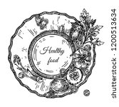 healthy food. vegetables. plate ... | Shutterstock .eps vector #1200513634