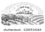 vine plantation hills  trees ... | Shutterstock .eps vector #1200514264