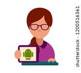flat vector icon of computer... | Shutterstock .eps vector #1200516361