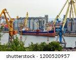 bulk carrier near the grain... | Shutterstock . vector #1200520957