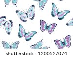 Stock vector vector vintage hand drawn seamless pattern of beautiful colorful butterflies on a white background 1200527074