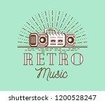 retro music double cassete...   Shutterstock .eps vector #1200528247