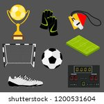 soccer set of icons with field  ... | Shutterstock .eps vector #1200531604