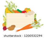 a wooden vegetables sign... | Shutterstock .eps vector #1200532294