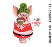 pig in a santa's red costume ... | Shutterstock .eps vector #1200533461