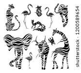 wild animals. stylized wild... | Shutterstock .eps vector #1200589654