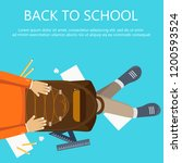 back to school banner. boy... | Shutterstock .eps vector #1200593524