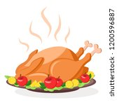 roast turkey on a tray with... | Shutterstock .eps vector #1200596887
