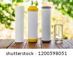 a glass of purified water and... | Shutterstock . vector #1200598051