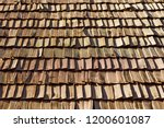 several wood cedar shingles for ... | Shutterstock . vector #1200601087
