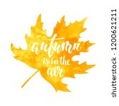 autumn is in the air. on yellow ... | Shutterstock .eps vector #1200621211