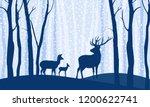 deers in the forest winter... | Shutterstock .eps vector #1200622741