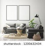 mock up poster frame in modern... | Shutterstock . vector #1200632434