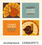 happy thanksgiving flat... | Shutterstock .eps vector #1200639571