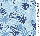 vector seamless tropical leaves ... | Shutterstock .eps vector #1200641707