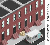 isometric 3d city delivery van. ... | Shutterstock .eps vector #1200647707