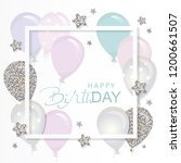balloons in paper cut out frame ... | Shutterstock .eps vector #1200661507
