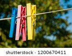 plastic colorful clothespins on ... | Shutterstock . vector #1200670411
