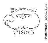meow. angry furry cartoon cat.... | Shutterstock . vector #1200671611