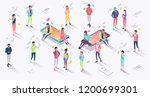 isometric concept with mobile... | Shutterstock .eps vector #1200699301