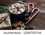 christmas or new year coziness. ...   Shutterstock . vector #1200703744