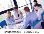 group of happy young  business... | Shutterstock . vector #120073117