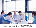 group of happy young  business... | Shutterstock . vector #120073504