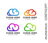cloud logo design in line art... | Shutterstock .eps vector #1200742297