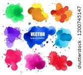 set of splash watercolor ... | Shutterstock .eps vector #1200745147