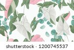 tropical plants seamless... | Shutterstock .eps vector #1200745537
