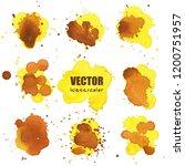 set of yellow splash watercolor ... | Shutterstock .eps vector #1200751957