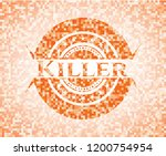killer orange mosaic emblem | Shutterstock .eps vector #1200754954