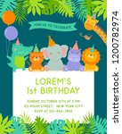 Stock vector frame border of cute jungle animals cartoon and tropical leaves for kids party invitation card 1200782974