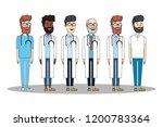 medical teamwork cartoon | Shutterstock .eps vector #1200783364