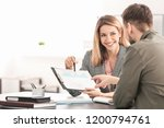 consulting manager with man at... | Shutterstock . vector #1200794761