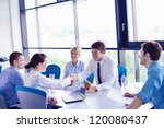 group of happy young  business... | Shutterstock . vector #120080437