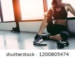 woman exercise workout in gym... | Shutterstock . vector #1200805474
