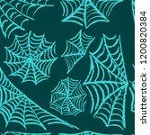 halloween. set cobwebs. blue... | Shutterstock .eps vector #1200820384