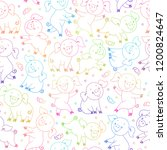 endless white pattern with cute ... | Shutterstock .eps vector #1200824647