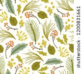 christmas floral pattern with... | Shutterstock .eps vector #1200831661