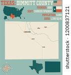 detailed map of dimmitt county... | Shutterstock .eps vector #1200837121