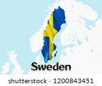 flag map of sweden. 3d... | Shutterstock . vector #1200843451