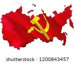 flag map of ussr. 3d rendering... | Shutterstock . vector #1200843457