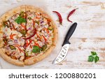 traditional spicy pizza with... | Shutterstock . vector #1200880201